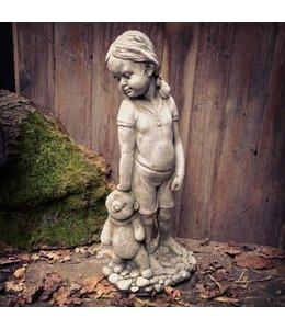 """Steinfigur """"Mädchen mit Teddy"""" Antik-Patina"""