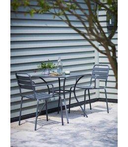 Sitzgruppe 1 Gartentisch und 2 Gartenstühle, dunkelgrau