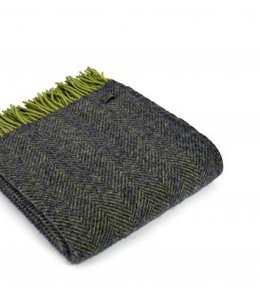 "TWEEDMILL Wolldecke ""Herringbone Charcoal/Lime"""