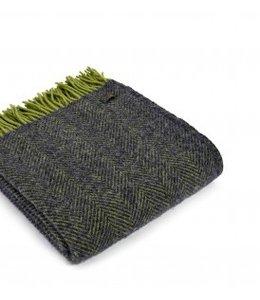 "Wolldecken Vintage Wolldecke ""Herringbone Charcoal/Lime"""