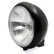 """7"""" Headlight Classic ripped lens black grooved"""