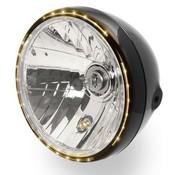 """7 """"Koplamp zwart sidemount met LED-ring voor parkeerlicht"""