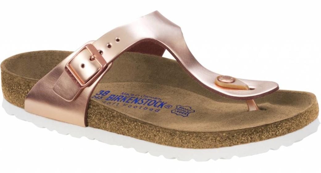 Birkenstock Gizeh metallic copper leer, zacht voetbed in 2 breedtes