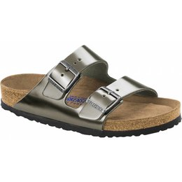 Birkenstock Arizona metallic antraciet leather with soft footbed wide 36