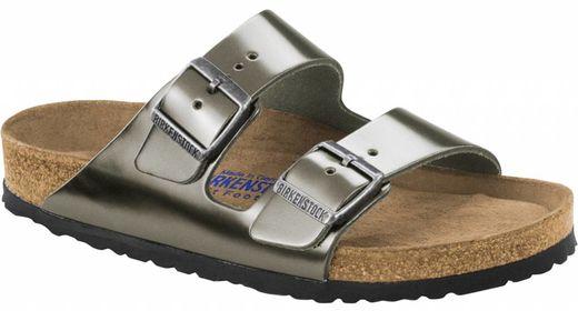 Birkenstock Bikenstock Arizona metallic antraciet leer met zacht voetbed in 2 breedtes