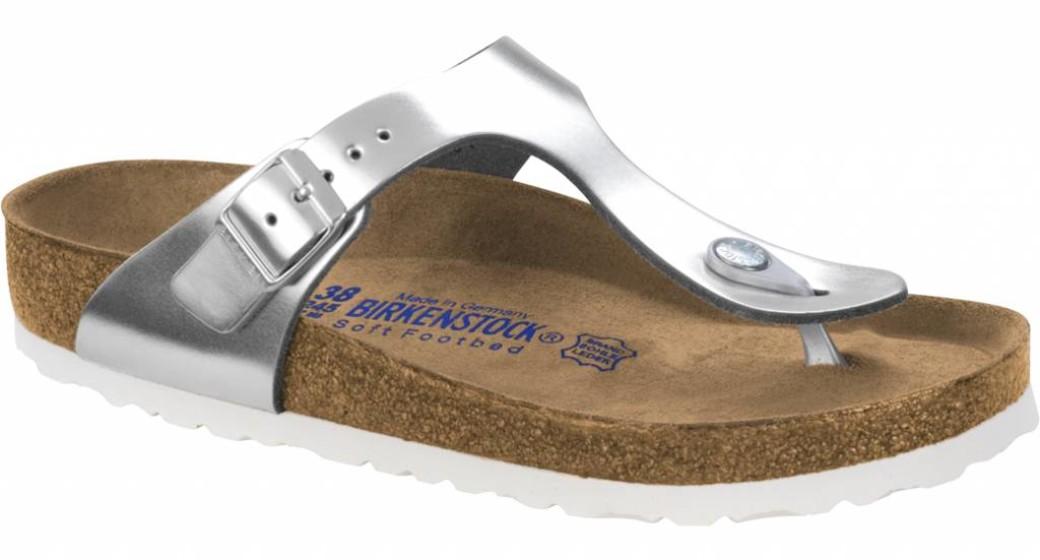 Birkenstock Gizeh metallic silver leather, soft footbed