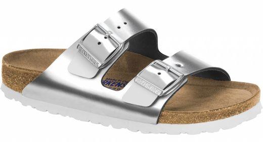 Birkenstock Birkenstock Arizona metallic silver with soft footbed