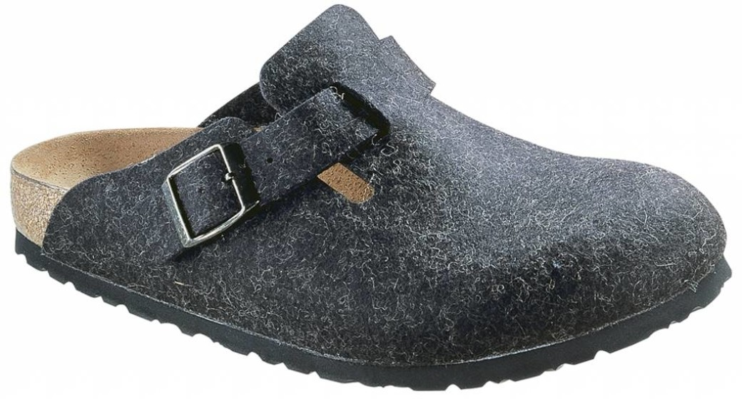 Birkenstock Boston wolvilt antraciet in 2 breedtes