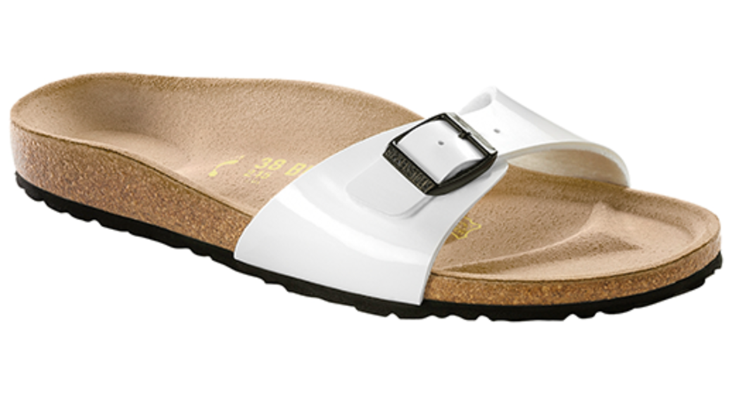 Birkenstock Madrid white patent for normal feet