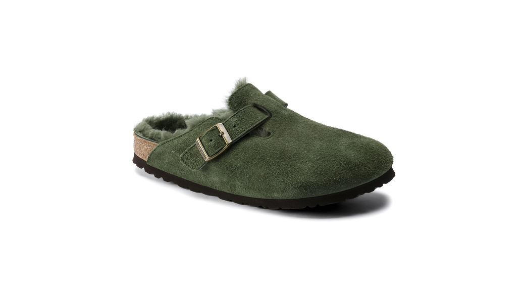 Birkenstock cl Boston Green narrow Shearling