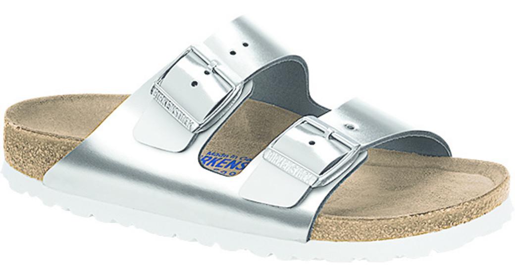 Birkenstock Arizona silver metallic leather for normal feet