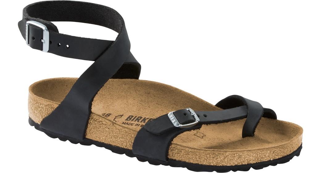 Birkenstock Yara zwart geolied leer voor normale voet