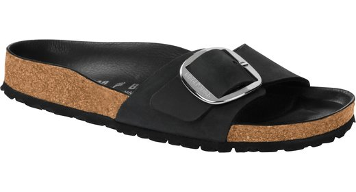Birkenstock Birkenstock Madrid big buckle zwart geolied leer voor normale voet