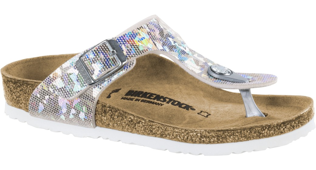 Birkenstock Gizeh kids hologram silver for normal feet