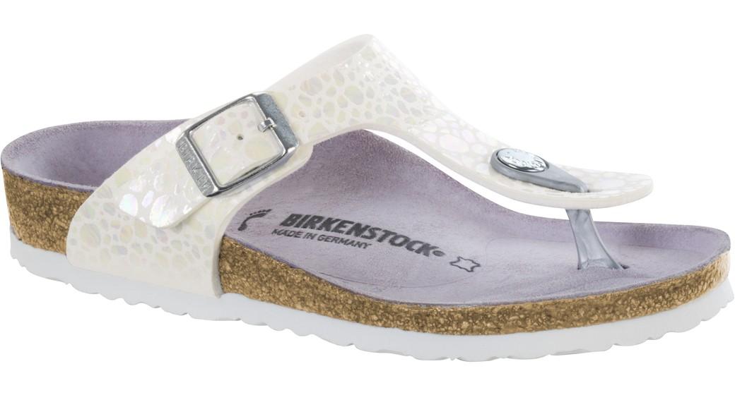 Birkenstock Gizeh kids metallic stones white for normal feet