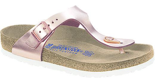 Birkenstock Birkenstock Gizeh metallic copper leer,zacht voetbed voor normale voet