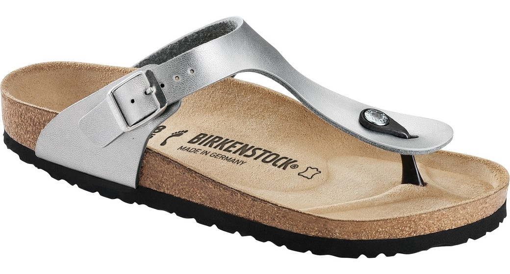 Birkenstock Gizeh silver for narrow feet