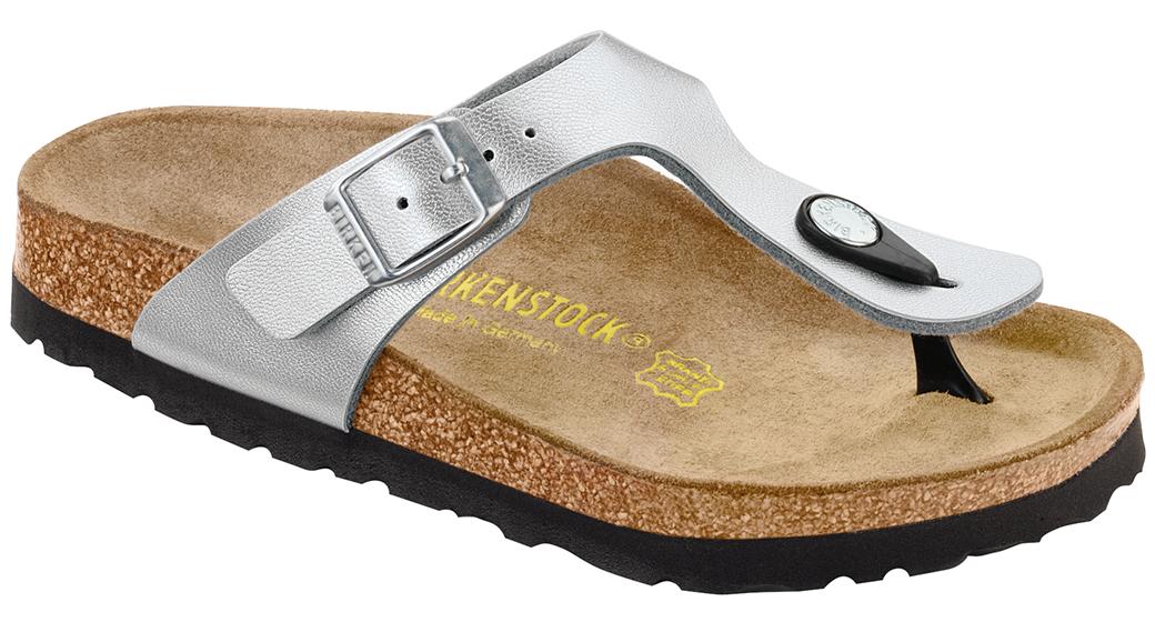 Birkenstock Gizeh kids silver for wide feet