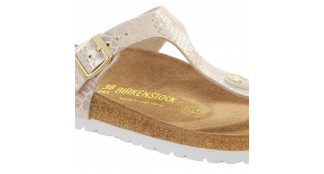 Birkenstock Gizeh shiny snake cream for normal feet