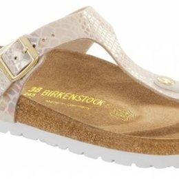 Birkenstock Gizeh shiny snake cream voor normale voet