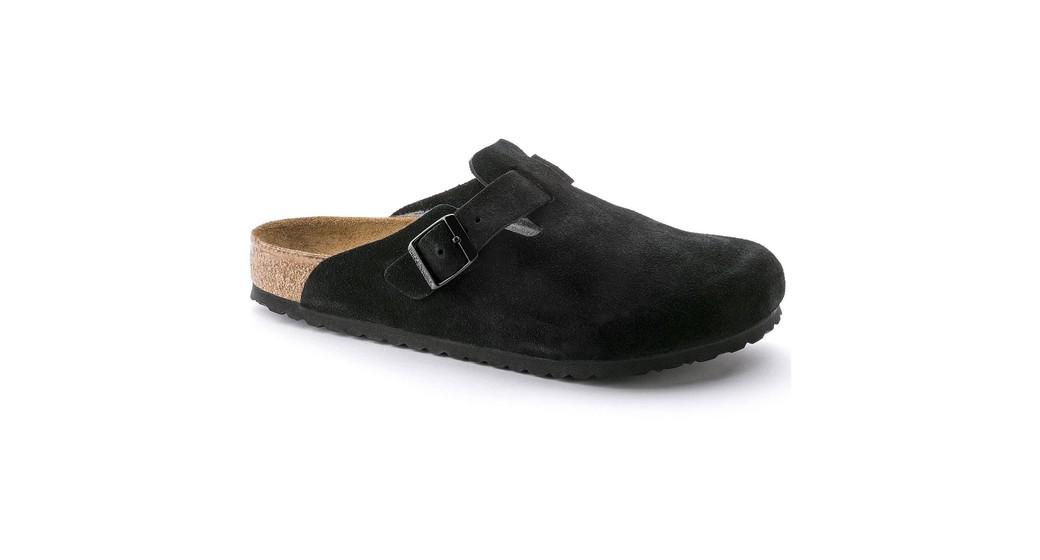 Birkenstock Boston zacht voetbed zwart  Suede leer brede pasvorm
