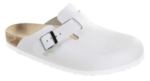 Birkenstock Boston wit leer, voor normale tot smalle  voeten