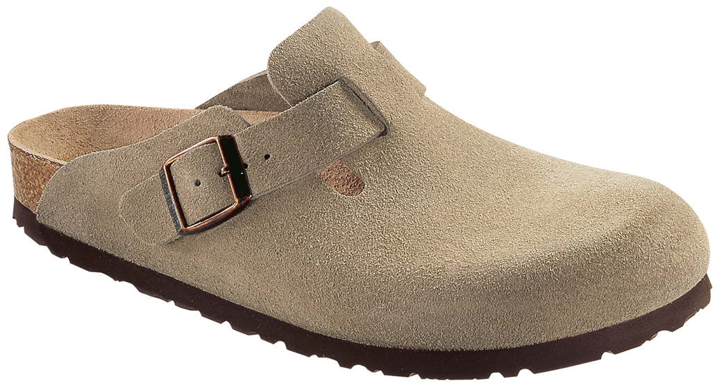Birkenstock Boston suede leather taupe soft footbed