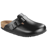 Birkenstock Boston zwart leer voor normale voet - zacht voetbed