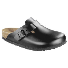 Birkenstock Boston zwart leer voor brede voet - zacht voetbed