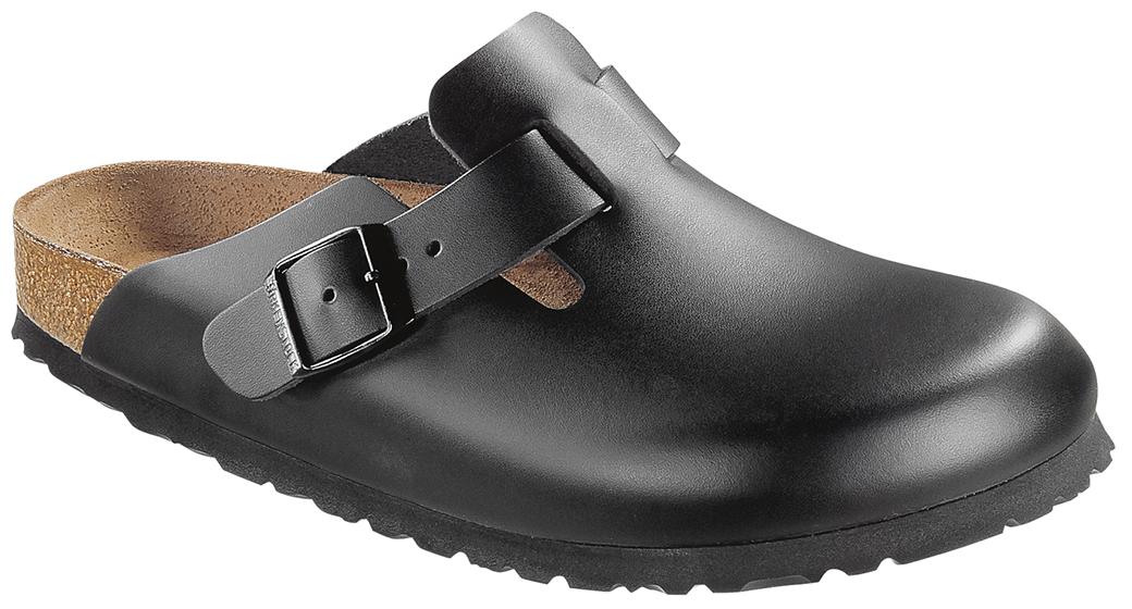 Birkenstock Boston zwart leer voor normale voet
