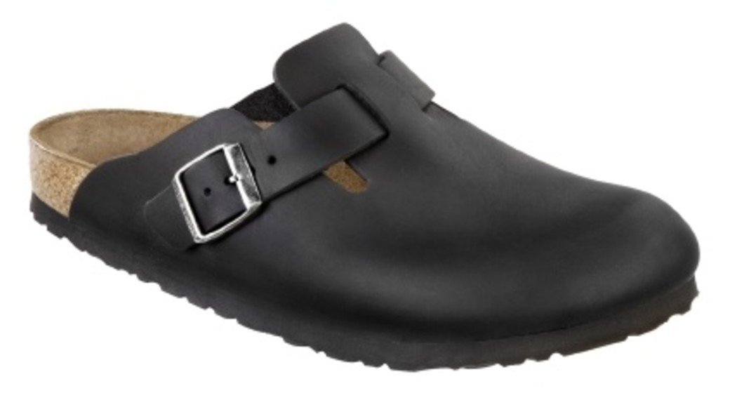 Birkenstock Boston oiled black leather for wide feet