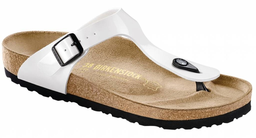 Birkenstock Gizeh white patent, black sole