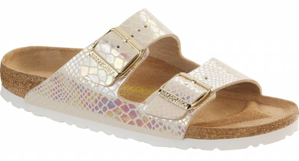 Birkenstock Arizona shiny snake cream breed 43