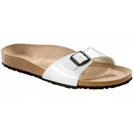 Birkenstock Madrid white patent, black sole