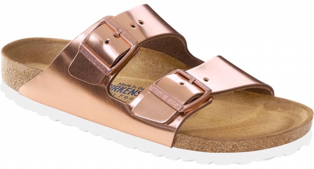Birkenstock Arizona metallic copper leer, zacht voetbed