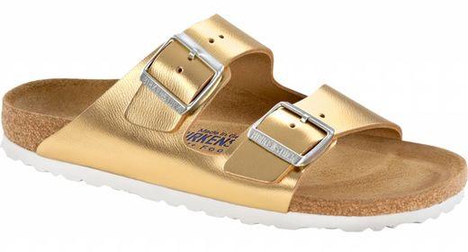Birkenstock Birkenstock Arizona liquid gold leather soft footbed with white sole