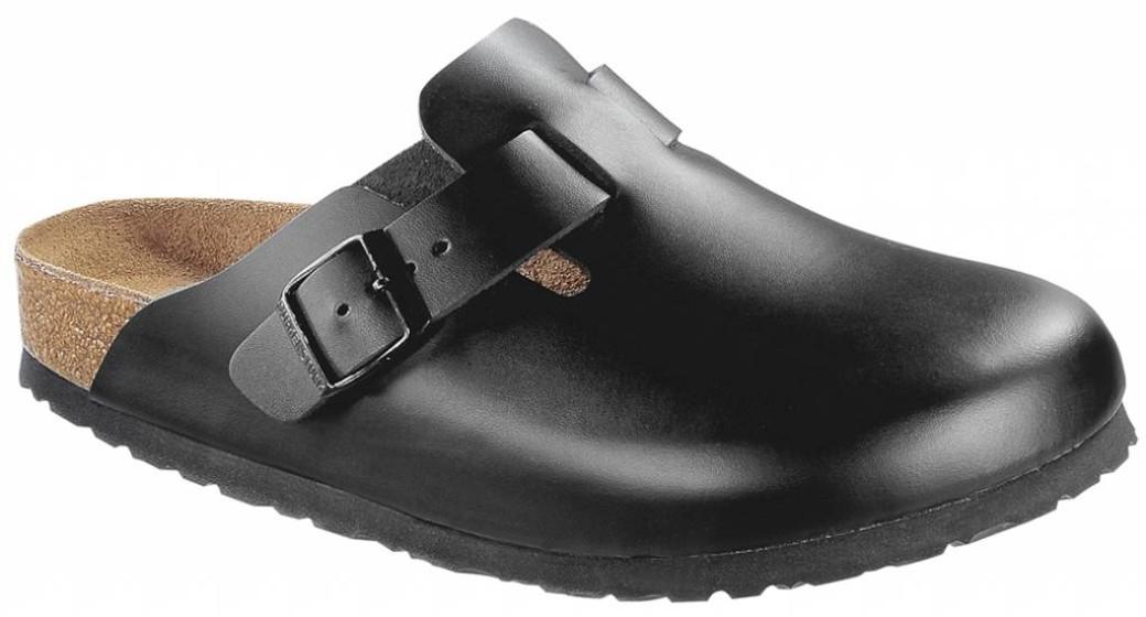 Birkenstock Boston zwart leer zacht voetbed in 2 breedtes
