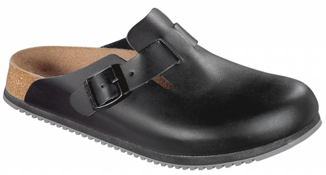 Birkenstock Boston zwart leer, anti slip zool