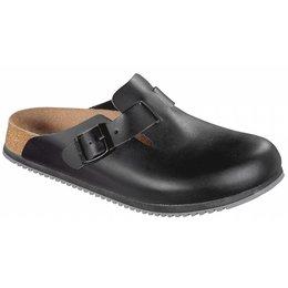 Birkenstock Boston black leather, anti-slip sole, in 2 widths