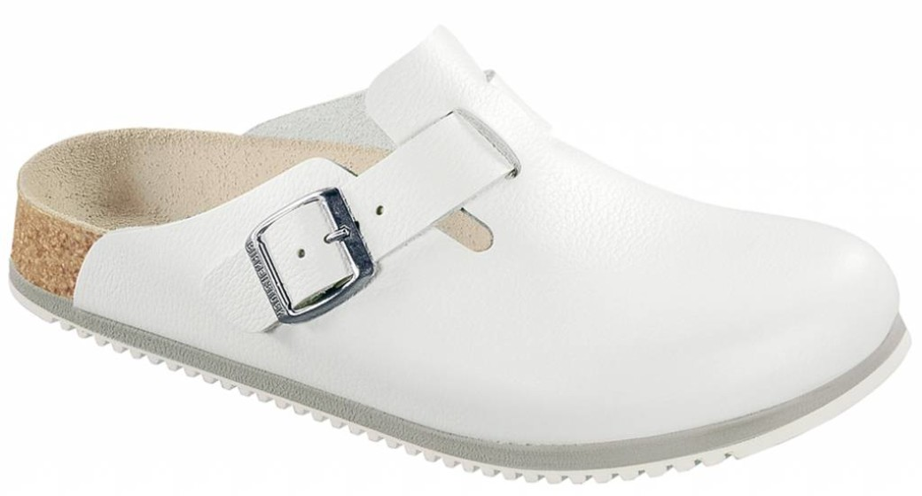 Birkenstock Boston wit leer, anti slip zool