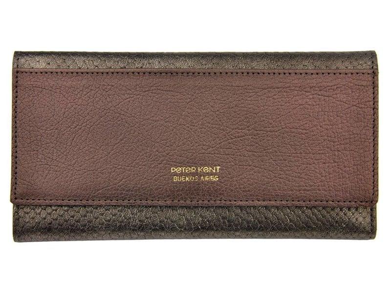 Peter Kent portemonnee - croco - brons/grijs
