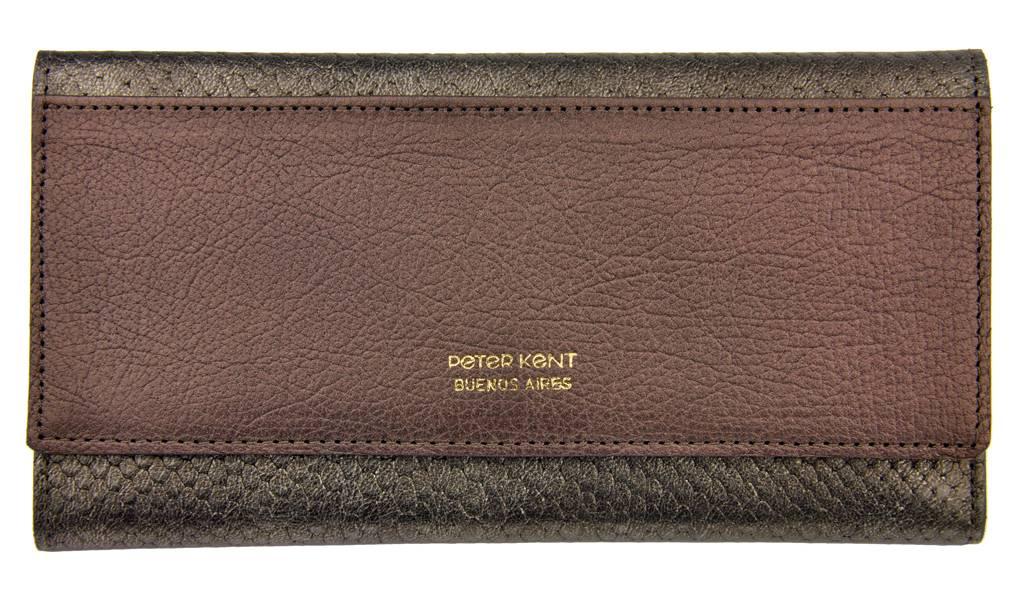 6f87b8ec565 Peter Kent portemonnee - croco - brons/grijs