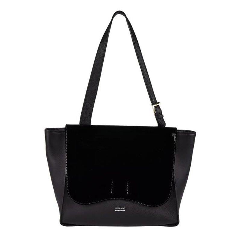 Peter Kent Shanghai - schoudertas - zwart met lakleren flap