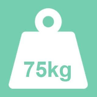 Dit product wordt geadviseerd te gebruiken tot een gewicht van 75kg. Bij een 2-persoons uitvoering geldt 75kg per ligplaats.