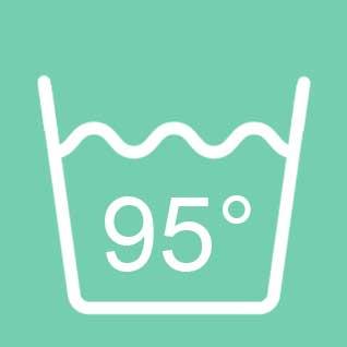 Dit products is wasbaar op 95°C