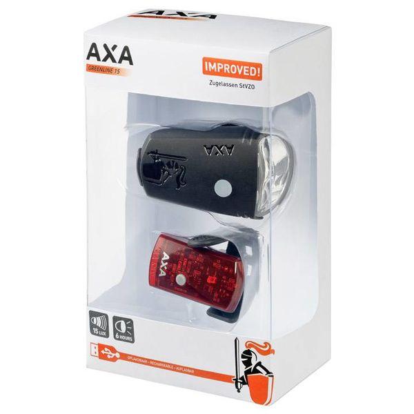 Axa verlichting set Greenline 15 Lux Usb