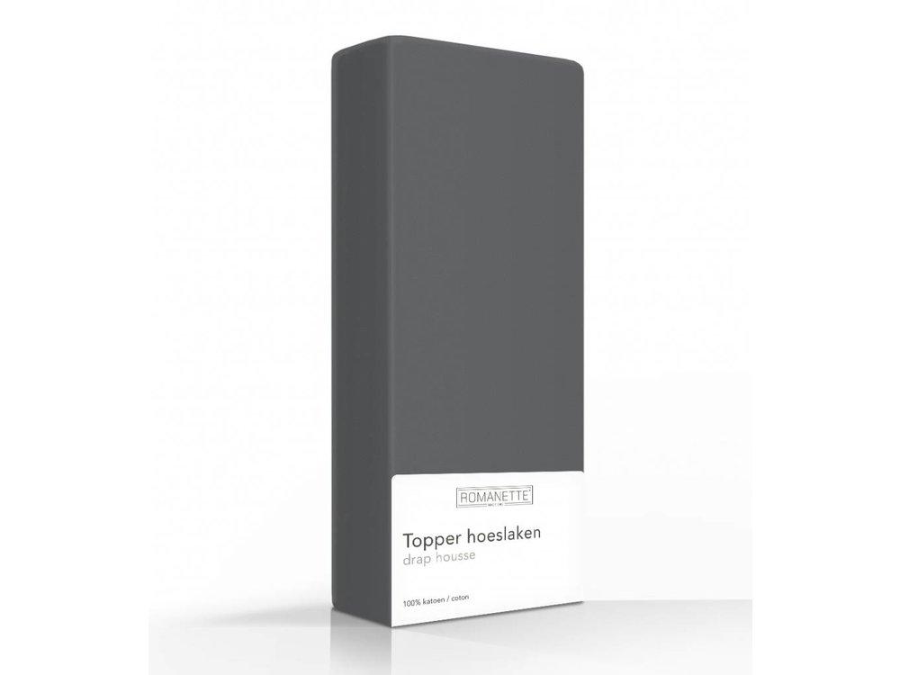Topper Hoeslaken 80x200.Hoeslaken Romanette Topper Katoen Antraciet Dekbeddenvoordeel Nl