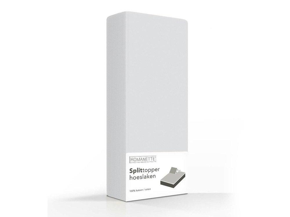 Romanette Hoeslaken - Splittopper - Katoen - Zilver Grijs