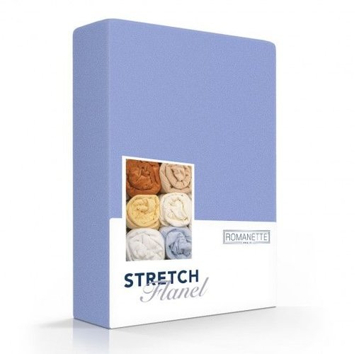Romanette Hoeslaken - Flanel Stretch - Blauw