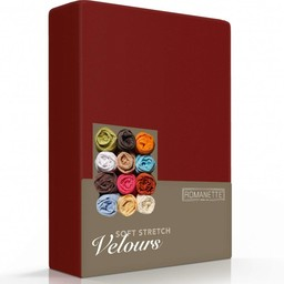 Romanette Hoeslaken - Velours - Bordeaux Rood